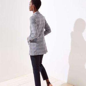 Loft gray plaid long blazer jacket